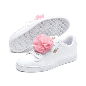 Girls Puma white sneakers with pink flower